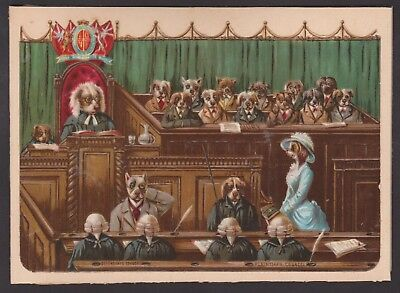 Fine Victorian Scrap Anthropomorphic Dogs Louis Wain ? Court Room Suffragette ?