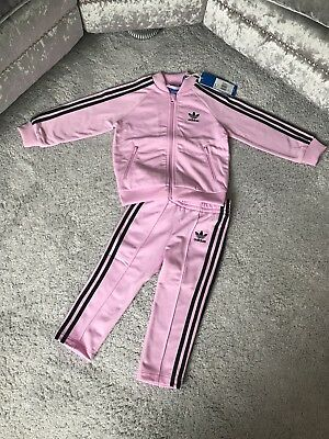 Bnwt Baby Girls Pink/black Adidas Tracksuit Size 12-18 Months