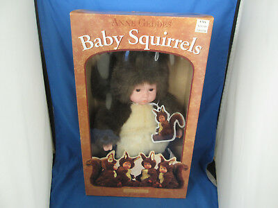 "New Vintage 1998  Anne Geddes Baby Squirrels 16"" Doll & Hang Tag  #526601 MIB"