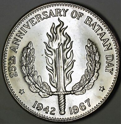 1967 Philippines Peso 25 Years Bataan Day Proof Like Silver Broken Sword Coin