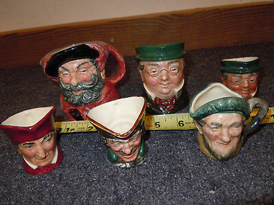6 Royal Doulton Character Mugs Falstaff Pickwick Auld Mac Turpin Toby Jugs Lot