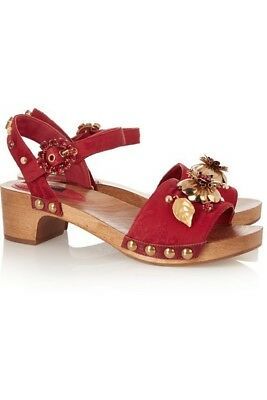 Dolce & Gabanna jewel and metal flower leather wooden-heeled sandals