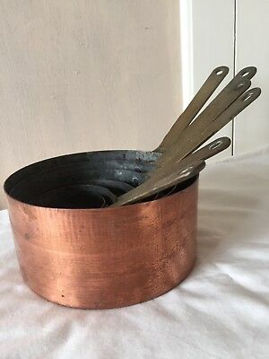 Copper French pan set of six vintage