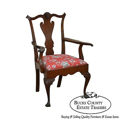 Carl E. Kiesel Bench Made Walnut Chippendale Style Drake Foot Arm Chair