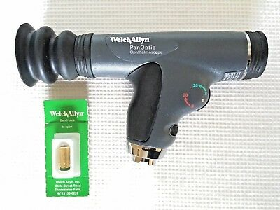 Welch Allyn 11820 PANOPTIC OPHTHALMOSCOPE w/ Patient EYE CUP & FREE Extra Bulb!