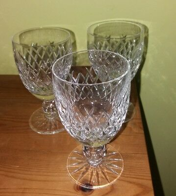 3 Waterford Crystal Boyne pattern port / wine? glasses