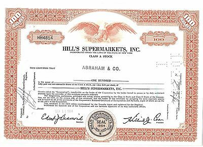 Hill's Supermarkets, US Lebensmittelkette 100 Shares