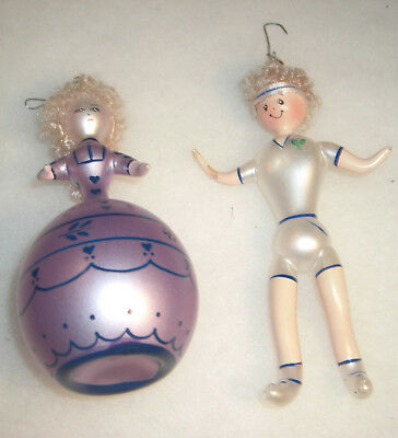 2 Vintage Italian Italy Blown Glass  Christmas Ornaments Lady and Tennis Player