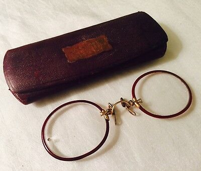 Antique GOLD Filled & Burgundy Celluloid SHELLTEX Pince Nez Spectacles with Case