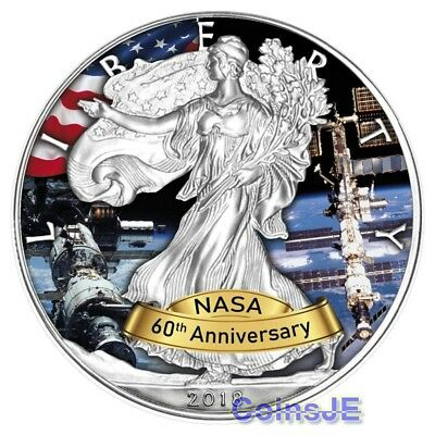 2018 1 oz Silver Eagle 60th Anniversary of NASA ISS International Space Station