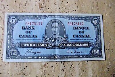 1937 Bank of Canada Five Dollar Note Z/C 3178117 COYNE / TOWERS - VF PLUS