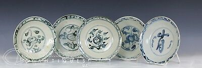 Lot Of Old Antique Asian Chinese Blue White Porcelain Plates Dishes