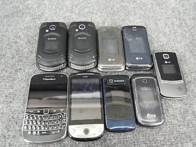 Lot of 9 Cell Phones - Not Working For Parts - Kyocera Blackberry HTC Samsung LG