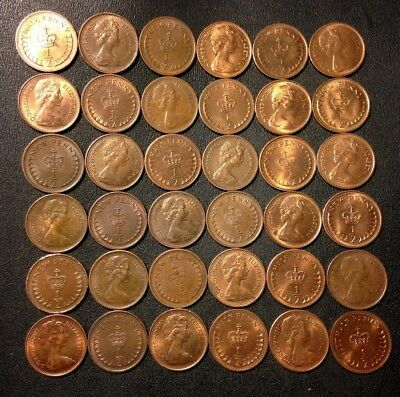 Old Great Britain Coin Lot - Half Pence - 36 High Grade Coins - FREE SHIPPING