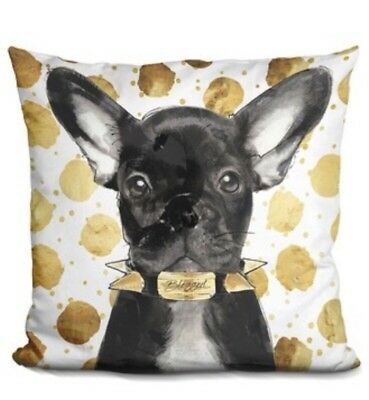 French Bulldog Pillow 15.5 Inch Square Made By Lilipi Black And Gold Retail 60