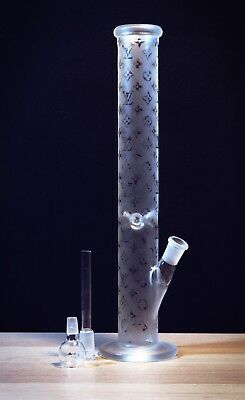"""LV PATTERN 16"""" Water Hookah Rasta Crystal Clear Bong Thick Quality Glass w/ Ice"""