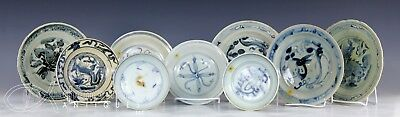 Lot Old Antique Chinese Blue White Porcelain Dishes Plates Ming Dynasty