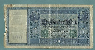 Germany ~  1910 Bank Note 100 Mark (Heavy Circ.) Currency