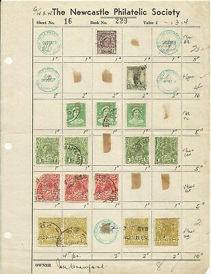 "Australia ~ Old Approval Pages Newcastle Philatelic Society  ""perfins"""