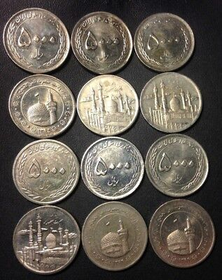 Old Iran Coin Lot - HIGH GRADE - 5000 DINARS - 12 AWESOME COINS - Lot #F21