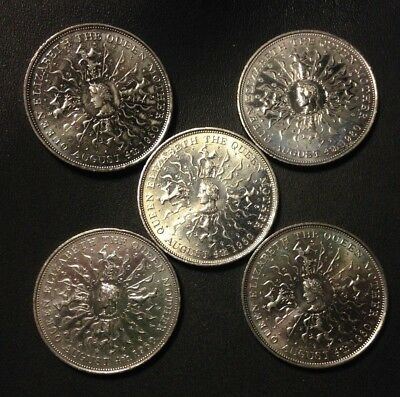 Vintage Great Britain Coin Lot - AU - 5 QUEEN MOTHER Crowns - 1980 - Lot #F21