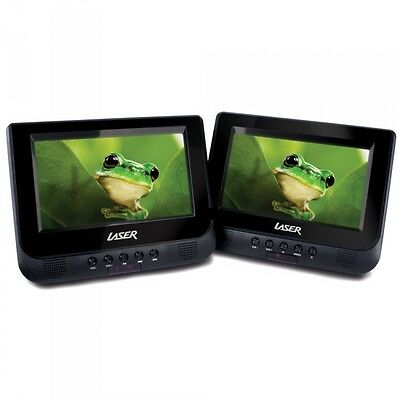 "Twin 7"" Screen in-car Portable DVD Player, Region Free  Seat Straps, Remote.."