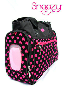 Large Designer Pink Black Hearts Baby Nappy Diaper Bag