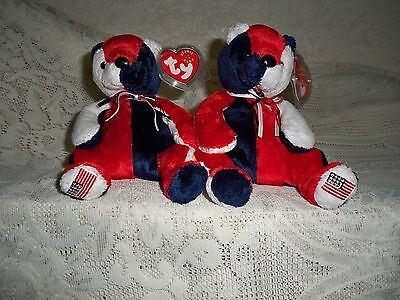 """Lot Of 2 Ty Beanie Baby Bears  """"patriot"""" Left & Right Foot Flags ~ New Condition"""