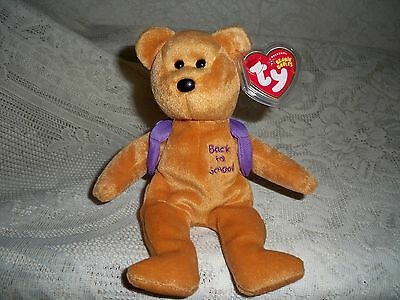 """Ty Beanie Baby """"books"""" Purple Book Bag ~ New Condition ~ 2005 Never Played With"""