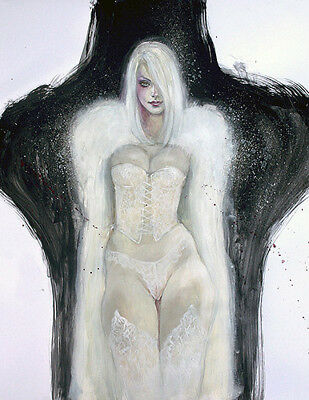 Mark Beachum WHITE QUEEN FANTASY Emma Frost Pinup Embelished Signed LE Giclee