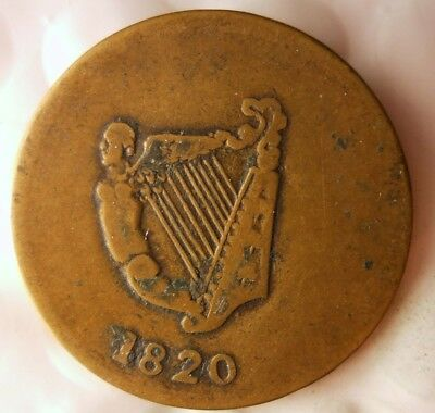 1820 LOWER CANADA 1/2 PENNY - Harp and Bust - VERY RARE TYPE - + Value - Lot F21