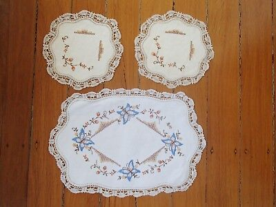 Vintage Handmade Floral/butterfly Crocheted And Embroidered Doilies Set