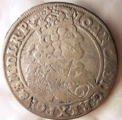 1663 POLISH-LITHUANIAN COMMONWEALTH 18 GROSZY - Very Rare Silver Coin - Lot #F21