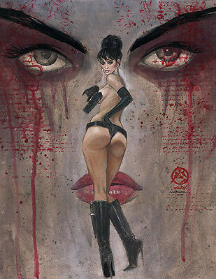 Mark Beachum MODESTY BLAISE Pinup in Robert McGinnis Style Embelished LE Giclee