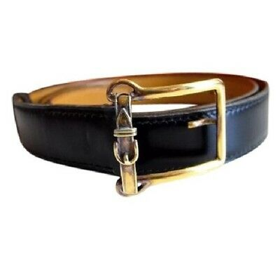 pre-loved authentic HERMÈS black calfskin BELT size 78