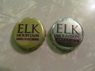 2 - Different Elk Mountain Beer Bottle Crowns Caps Retired Anheuser-Busch Craft