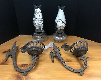 Pair Of VINTAGE ANTIQUE OIL LAMPS With CAST IRON WALL SCONCE BRACKET