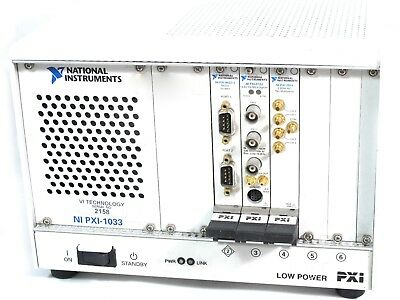 National Instruments NI PXI-1033 Chassis / Contains three modules / MXI-Express