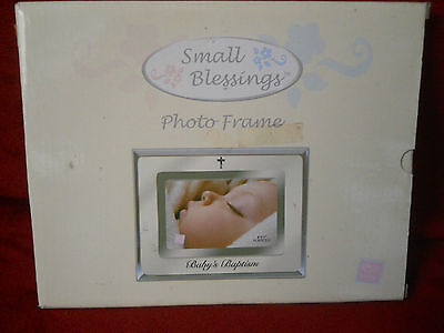 Russ Small Blessings Baby's Baptism Photo Frame Holds 4x6 Photo Silver Trim NIB