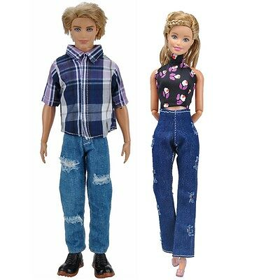 E-TING Casual Wear Dress Clothes+Shirt Pants Dating Outfit For Barbie Ken Doll A