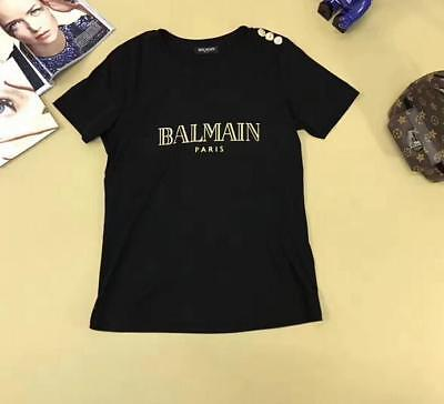 Fashion Womens balmain Letters Pattern Gold  Buttons Casual T-Shirt Black S