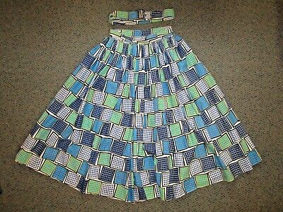 Genuine 50s Full Cotton Skirt Blue/Green/White +Belt Size 8 GC. Rockabilly/Dance