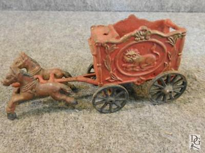 Antique Hubley Royal Circus Lion cage Horse drawn cast Iron toy 20s