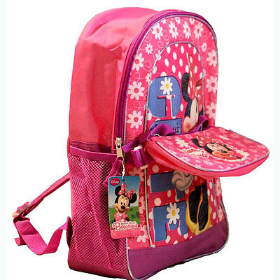 "Disney Minnie Mouse 16"" Backpack w Purse Wallet Girls School Pink Notebook Bag"