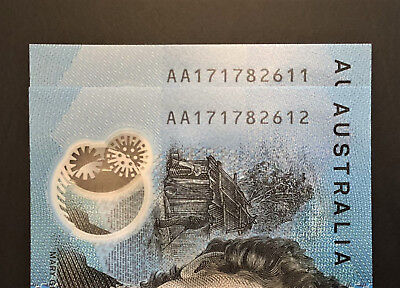 Consecutive Pair of AA17 ** FIRST PREFIX ** 2017 $10 notes ** Mint UNC!! Lot 3