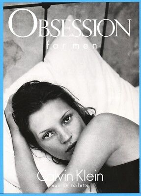 1997 Kate Moss Calvin Klein Obsession Men's Cologne Fragrance Photo Print Ad