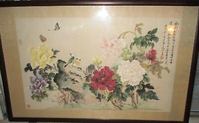 Chinese Original Large Watercolor Paper Painting Scroll Panel Calligraphy OOAK!