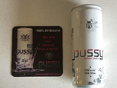 Pussy Energy Drink Can and Coaster Set Collectable