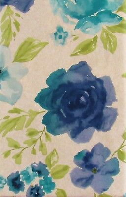 Blue Floral Watercolor Vinyl Flannel Back Tablecloth - Various Sizes