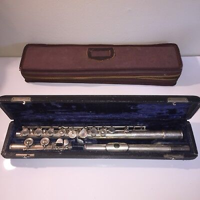 Antique LAVAL Italian Made Flute Musical Instrument In Case Italy Silver Vintage
